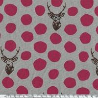 Tissu Echino Rênes à lunettes pois fushia fond gris 20 cm x 110 cm