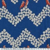 Tissu Echino Oiseaux rouges sur frise fond marine 20 cm x 110 cm