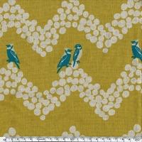Tissu Echino ENDUIT Oiseaux turquoises sur frise fond moutarde 20 cm x 110 cm