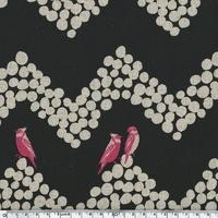 Tissu Echino ENDUIT Oiseaux turquoises sur frise fond noir 20 cm x 110 cm