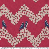 Tissu Echino Oiseaux noirs sur frise fond fushia 20 cm x 110 cm