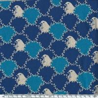 Tissu Echino Bustes d'oiseaux et lauriers coloris marine 20 cm x 110 cm