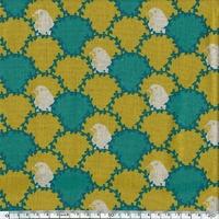 Tissu Echino Bustes d'oiseaux et lauriers coloris moutarde 20 cm x 110 cm