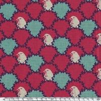 Tissu Echino Bustes d'oiseaux et lauriers coloris fushia 20 cm x 110 cm