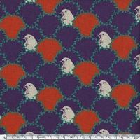 DERNIER COUPON Tissu Echino Bustes d'oiseaux et lauriers coloris violet 1m95 cm x 110 cm