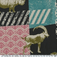 Tissu Echino Animaux de la savane coloris noir 20 cm x 110 cm