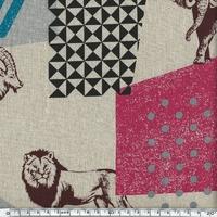 Tissu Echino Animaux de la savane coloris sable 20 cm x 110 cm