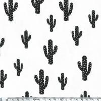 DERNIER COUPON Cactus, jersey coton/elasthanne blanc 40 x 140 cm