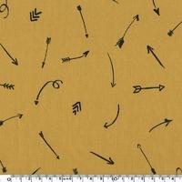 Coupon de poly/coton Comme une flèche moutarde, 1m50 x 140 cm