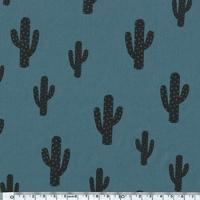Cactus, poly/coton coloris bleu canard 20 x 140 cm