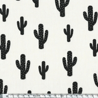 Coupon de poly/coton Cactus meringue, 1m50 x 140 cm