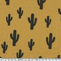 Cactus, poly/coton coloris moutarde 20 x 140 cm