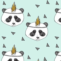 Jersey Panda indien fond menthe 20 x 160 cm