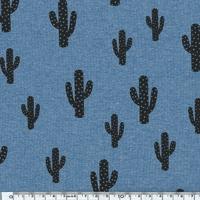 Cactus, jersey coton/elasthanne bleu chiné 20 x 140 cm
