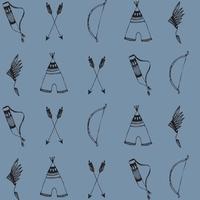 Jersey Arcs et flèches fond bleu 20 x 160 cm