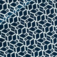 Popeline Skew cube bleu acier foncé 20 x 140 cm