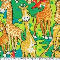 DERNIER COUPON Tissu Girafe Party 2m40 x 110 cm