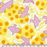 Tissu Colombes rose et jaune 20 x 110 cm