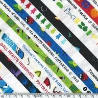 Tissu Funky selvedge lisières 20 x 110 cm