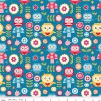 Tissu Fine and Dandy hiboux fond bleu 20 x 110 cm