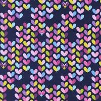 Tissu Bitty Love Bug Coeurs fond marine 20 x 110 cm