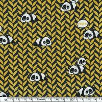 Popeline pandas coloris noir jaune 20 x 140 cm