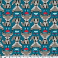 Jersey Renards coloris gris fond bleu pétrole 20 x 140 cm
