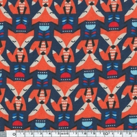 Jersey Renards coloris orange fond bleu marine 20 x 140 cm