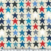 Jersey Etoiles bleu rouge noir  20 x 140 cm
