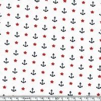 Jersey Ancres marines et étoiles 20 x 140 cm