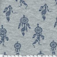 Jersey Attrape-rêves bleu fond chiné 20 x 140 cm