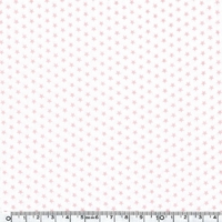 Toile enduite mini étoiles roses fond blanc 20 cm x 140 cm
