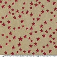 DERNIER COUPON Popeline étoiles rouges fond taupe 40 x 140 cm