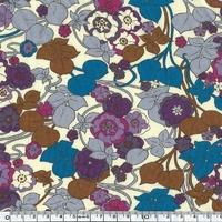 DERNIER COUPON EXCLU Liberty Jersey Boxford bleu brun coloris C 90 x 140 cm