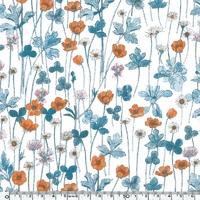DERNIER COUPON DERNIER COUPON EXCLU Liberty Jersey Josephine's garden bleu orange coloris A 55x 130 cm