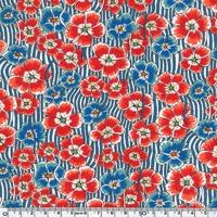 EXCLU Liberty Jersey Ellie Ruth bleu et rouge coloris C 20 x 150 cm