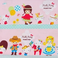 Tissu Hello Kitty fond rose 20 x 110 cm