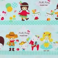 Tissu Hello Kitty fond vert d'eau 20 x 110 cm