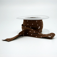 Biais Première Etoile imprimé chocolat 1m