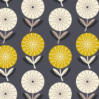 Tissu Bloom grosses fleurs fond gris 20 x 110 cm