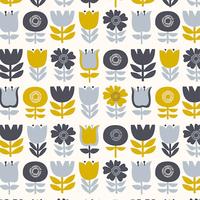 Tissu Bloom fleurs alignées grises et jaunes 20 x 110 cm