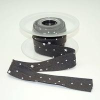 Biais Première Etoile imprimé poivre gris 1m