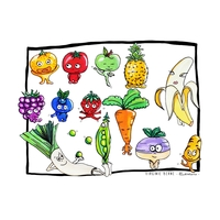 Coupon Mes petits légumes par Virginie Berne Illustrations env. 35 x 25 cm (popeline)