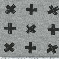 Molleton Croix fond gris chiné 20 x 140 cm
