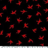 Jersey Hirondelles noir et rouge 20 x 140 cm