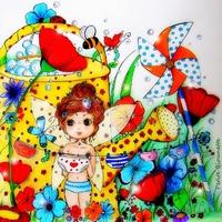 Coupon La Fée Culottée par Petite Biounette (popeline) env. 27 x 27 cm