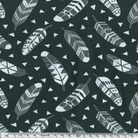 DERNIER COUPON  Jersey Plumes coloris noir 150 x 160 cm
