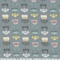 DERNIER COUPON Jersey Fleurs nordiques coloris gris 80 x 140 cm