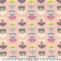 Jersey Fleurs nordiques coloris rose 20 x 140 cm