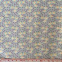 Popeline Fleurs parme et orange fluo fond menthe 20 x 140 cm